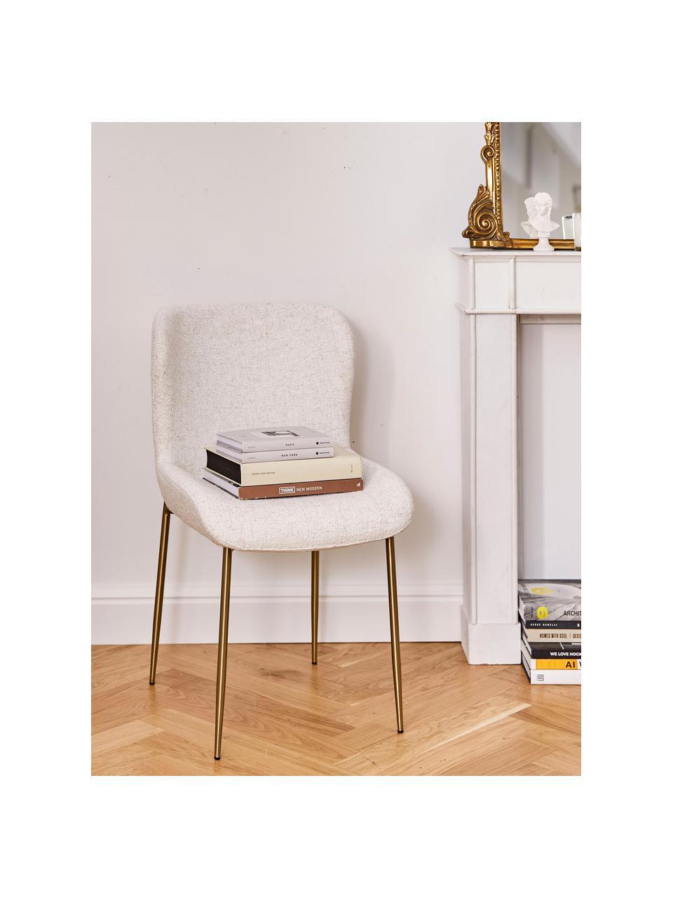 Bouclé-gestoffeerde stoel Tess in crèmewit, Bekleding: 70% polyester, 20% viscos, Poten: gepoedercoat metaal, Bouclé crèmewit, goudkleurig, B 49 x D 64 cm
