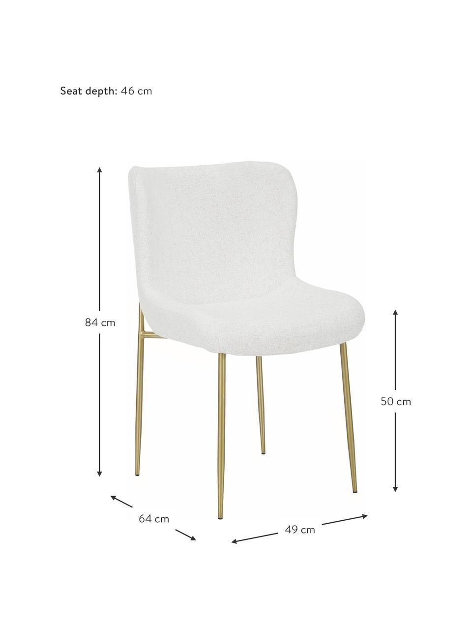 Chaise tissu bouclé rembourrée Tess, En tissu bouclé blanc crème, pieds or