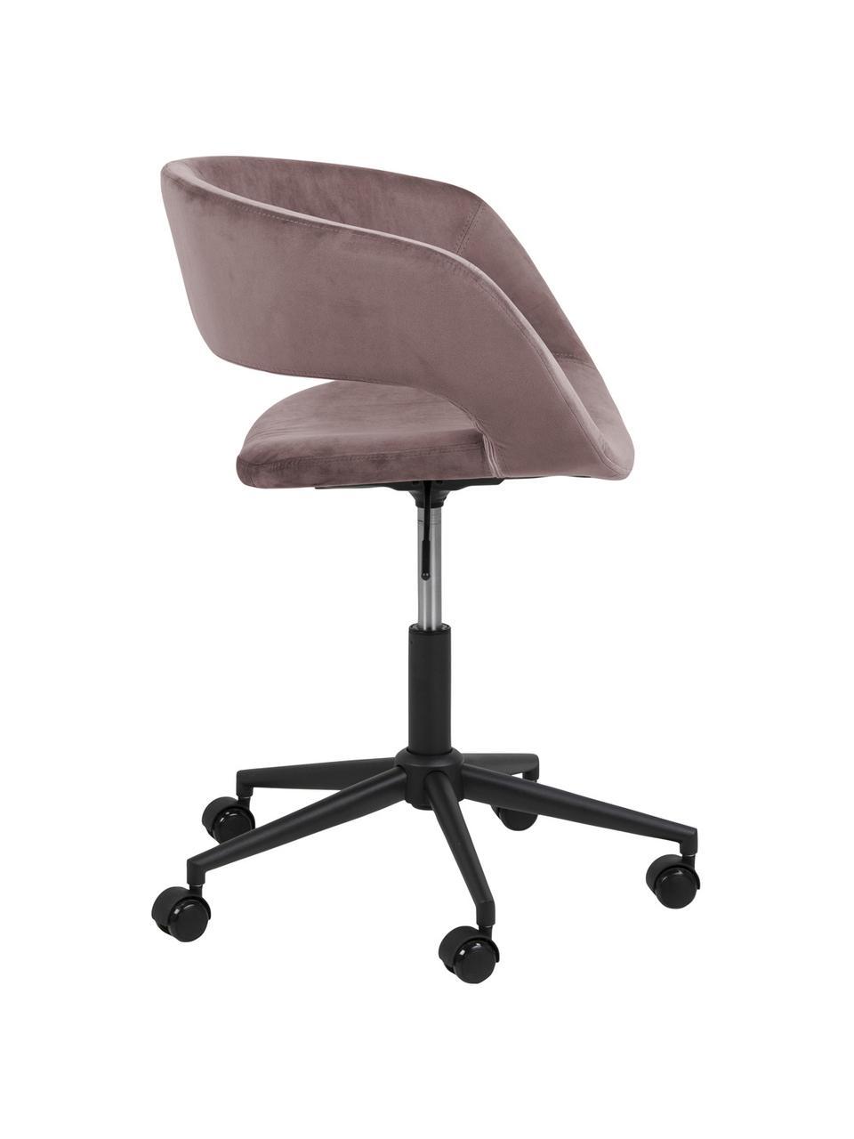 Krzesło obrotowe z aksamitu Grace, Tapicerka: aksamit poliestrowy 2500, Stelaż: metal malowany proszkowo, Aksamitny brudny różowy, S 56 x G 54 cm
