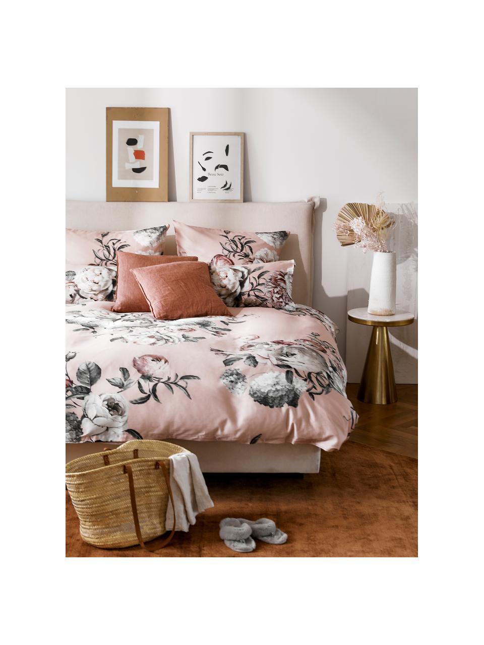Katoensatijnen dekbedovertrek Blossom, Weeftechniek: satijn Draaddichtheid 210, Roze, 140 x 200 cm + 1 kussen 60 x 70 cm