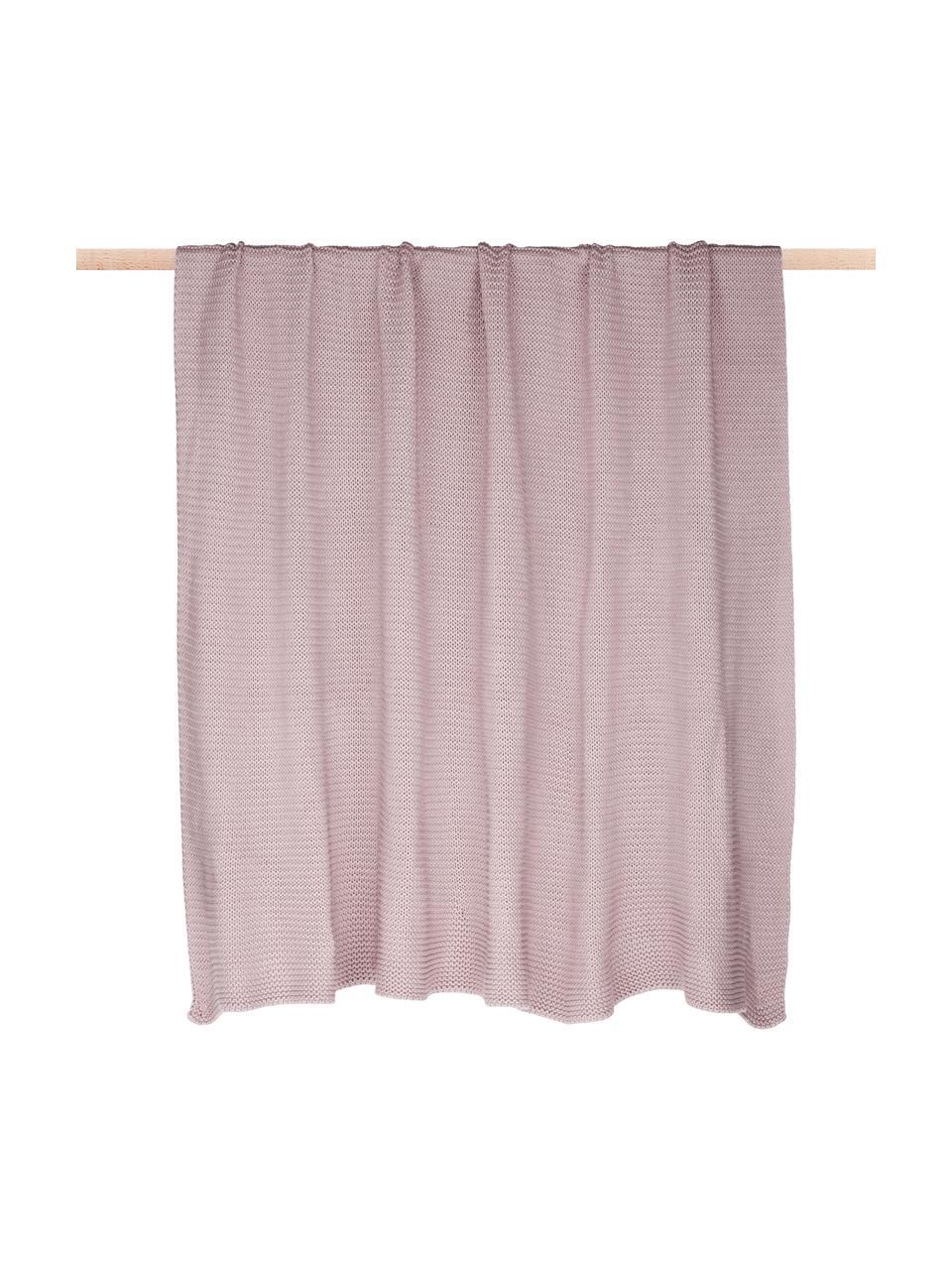 Plaid a maglia in cotone biologico rosa cipria Adalyn, 100% cotone biologico, certificato GOTS, Rosa cipria, Larg. 150 x Lung. 200 cm