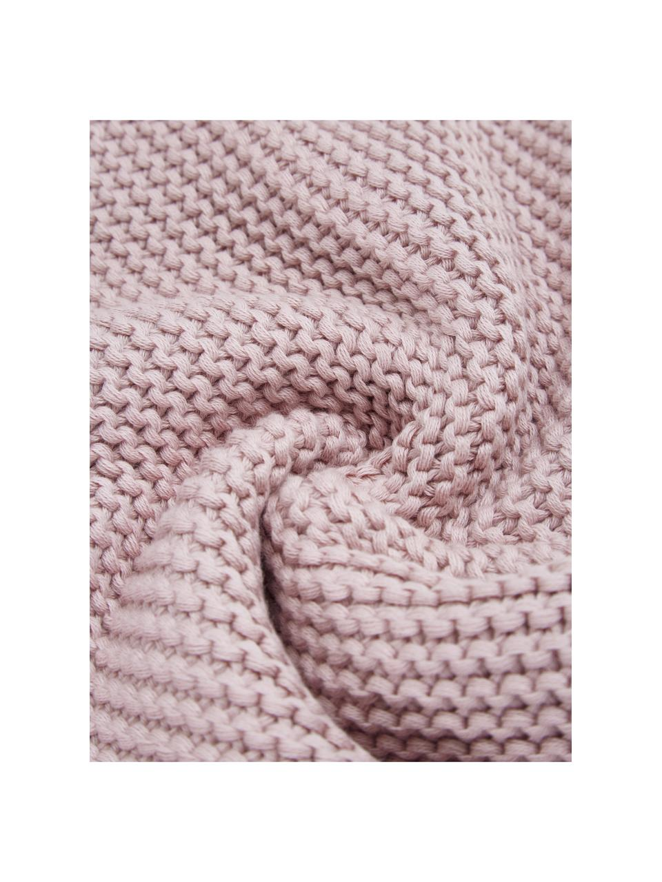 Koc z bawełny organicznej Adalyn, 100% bawełna organiczna, certyfikat GOTS, Brudny różowy, S 150 x D 200 cm