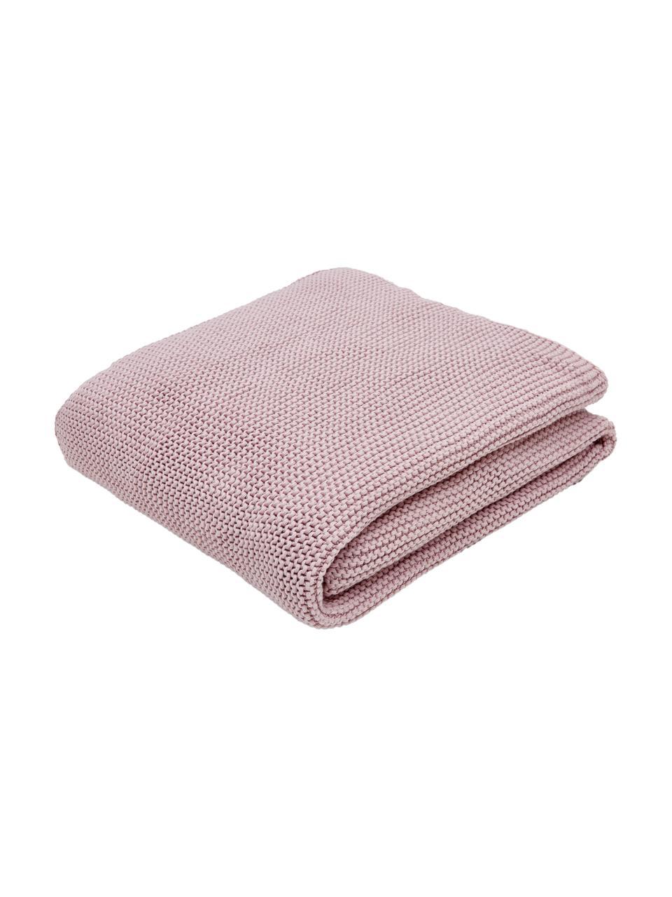 Manta de punto de algodón ecológico Adalyn, 100%algodón ecológico, certificado GOTS, Rosa palo, An 150 x L 200 cm