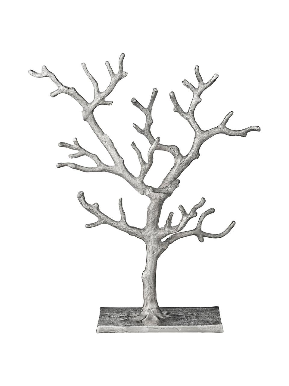 Handgefertigter Schmuckhalter Tressa, Aluminium, beschichtet, Silberfarben, 28 x 33 cm