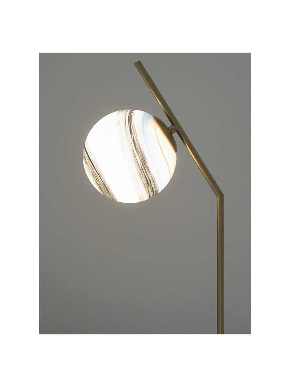 Grote tafellamp Opaal met marmeren voet, Lampenkap: glas, Lampvoet: marmer, Messingkleurig, wit, pastelkleurig, 25 x 56 cm
