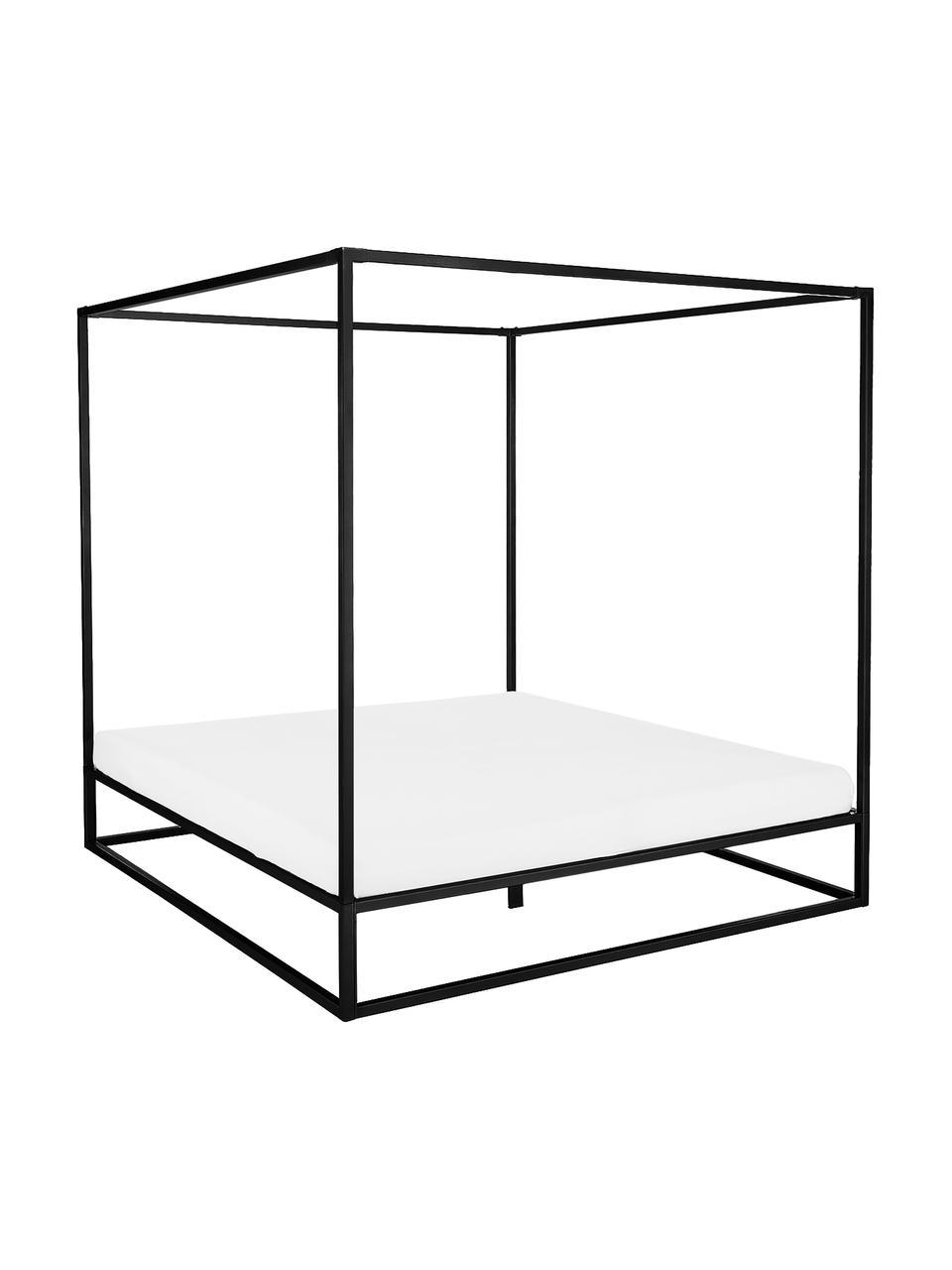 Łóżko z baldachimem z metalu Belle, Metal malowany proszkowo, Czarny, matowy, S 180 x D 200 cm