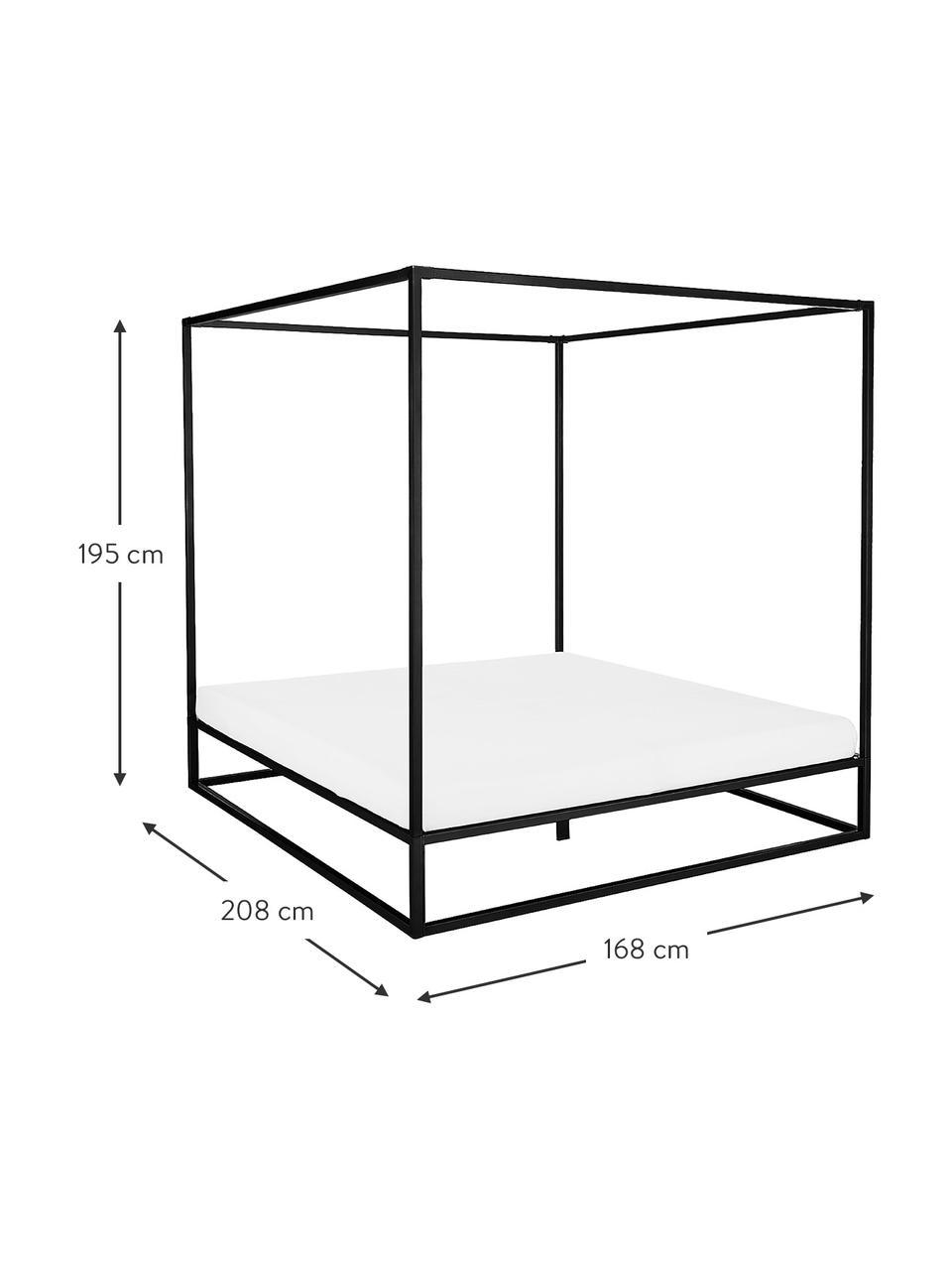 Himmelbett Belle aus Metall, Metall, pulverbeschichtet, Schwarz, matt, 180 x 200 cm