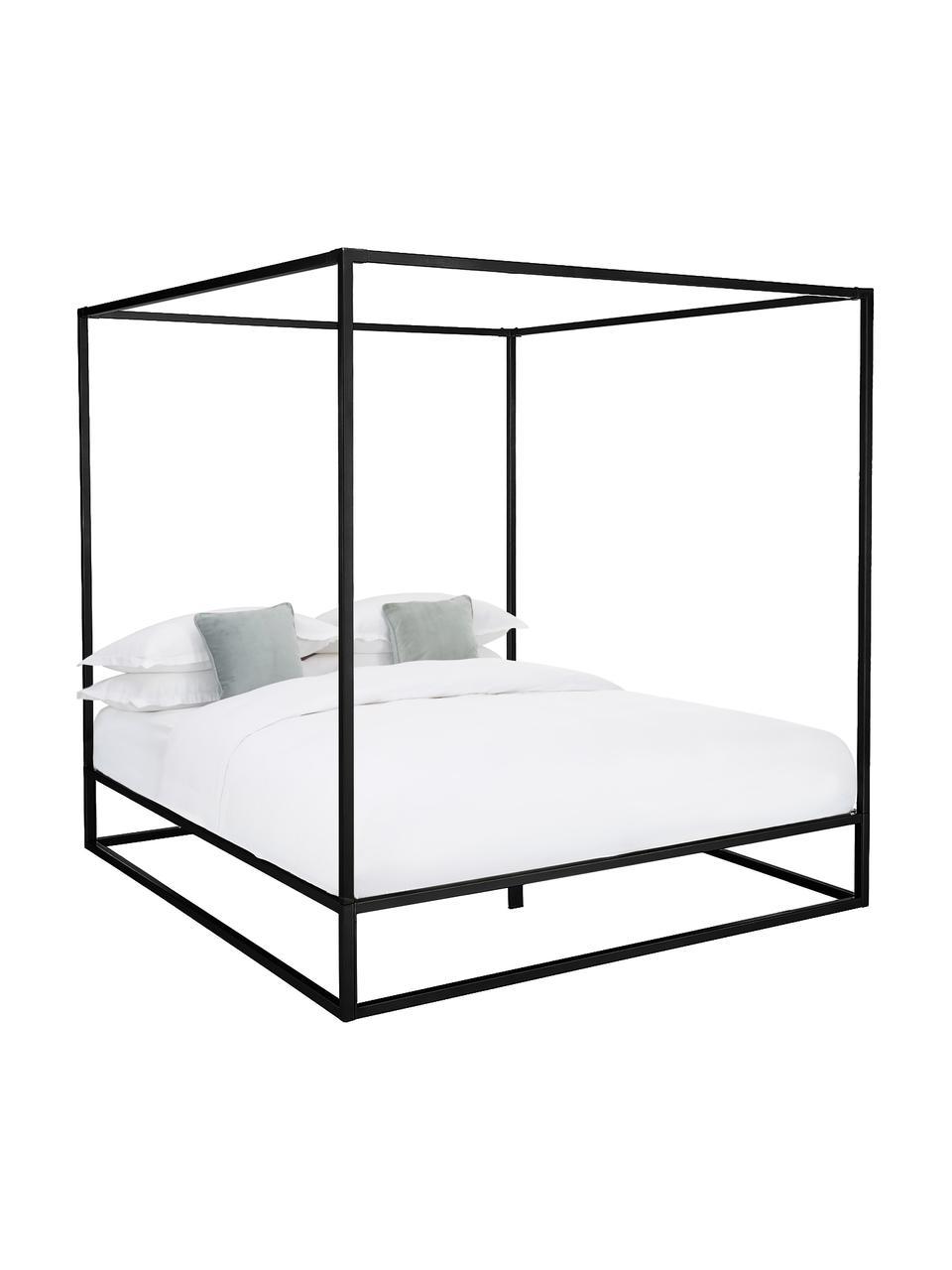 Łóżko z baldachimem z metalu Belle, Metal malowany proszkowo, Czarny, matowy, S 160 x D 200 cm