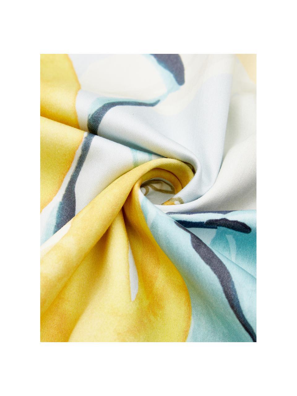Pościel z satyny Garda, Niebieski, żółty, biały, 135 x 200 cm + 1 poduszka 80 x 80 cm