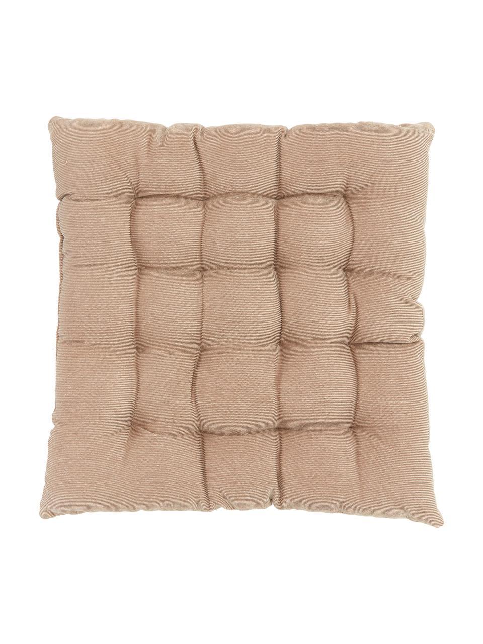Wendesitzkissen Milana, Samt/Cord, Vorderseite: Polyestersamt, Rückseite: Cord (90% Polyester, 7% N, Beige, 40 x 40 cm