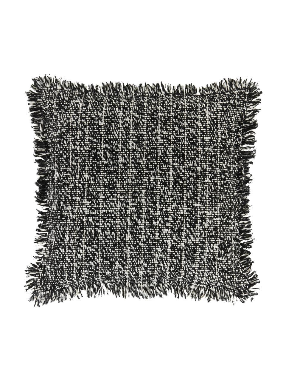 Bouclé-Kissenhülle Bounce mit Fransen, Vorderseite: 67% Baumwolle, 33% Acryl, Rückseite: 100% Baumwolle, Schwarz,Weiß, 45 x 45 cm