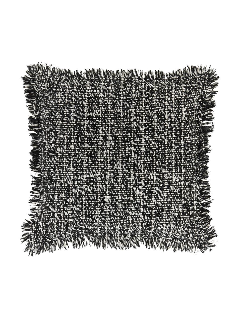 Federa arredo bouclé con frange Bounce, Retro: 100% cotone, Nero, bianco, Larg. 45 x Lung. 45 cm