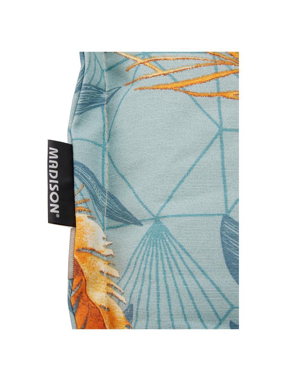 Hochlehner-Stuhlauflage Dotan mit tropischem Print, Bezug: 50% Baumwolle, 45% Polyes, Hellblau, Blau, Orange, 50 x 123 cm