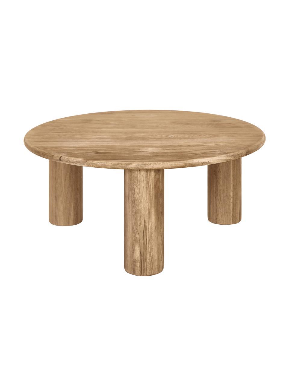 Tavolino rotondo da salotto in legno di quercia Didi, Legno massiccio di quercia oliato, Marrone, Ø 80 x Alt. 35 cm