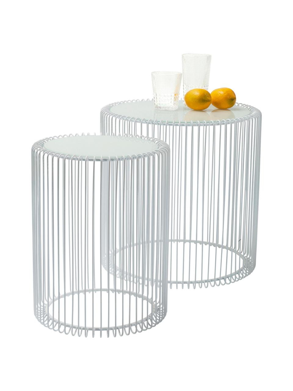 Table d'appoint avec plateau en verreWire, 2élém., Blanc
