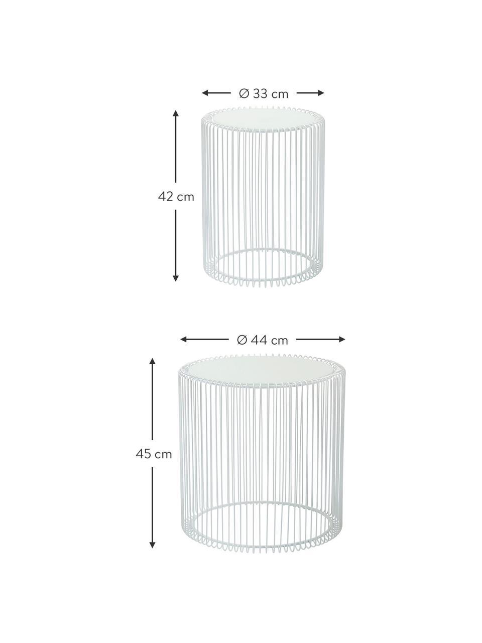 Metalen bijzettafel Wire met glazen tafelblad, 2-delig, Frame: gepoedercoat metaal, Tafelblad: veiligheidsglas, in folie, Wit, Set met verschillende formaten