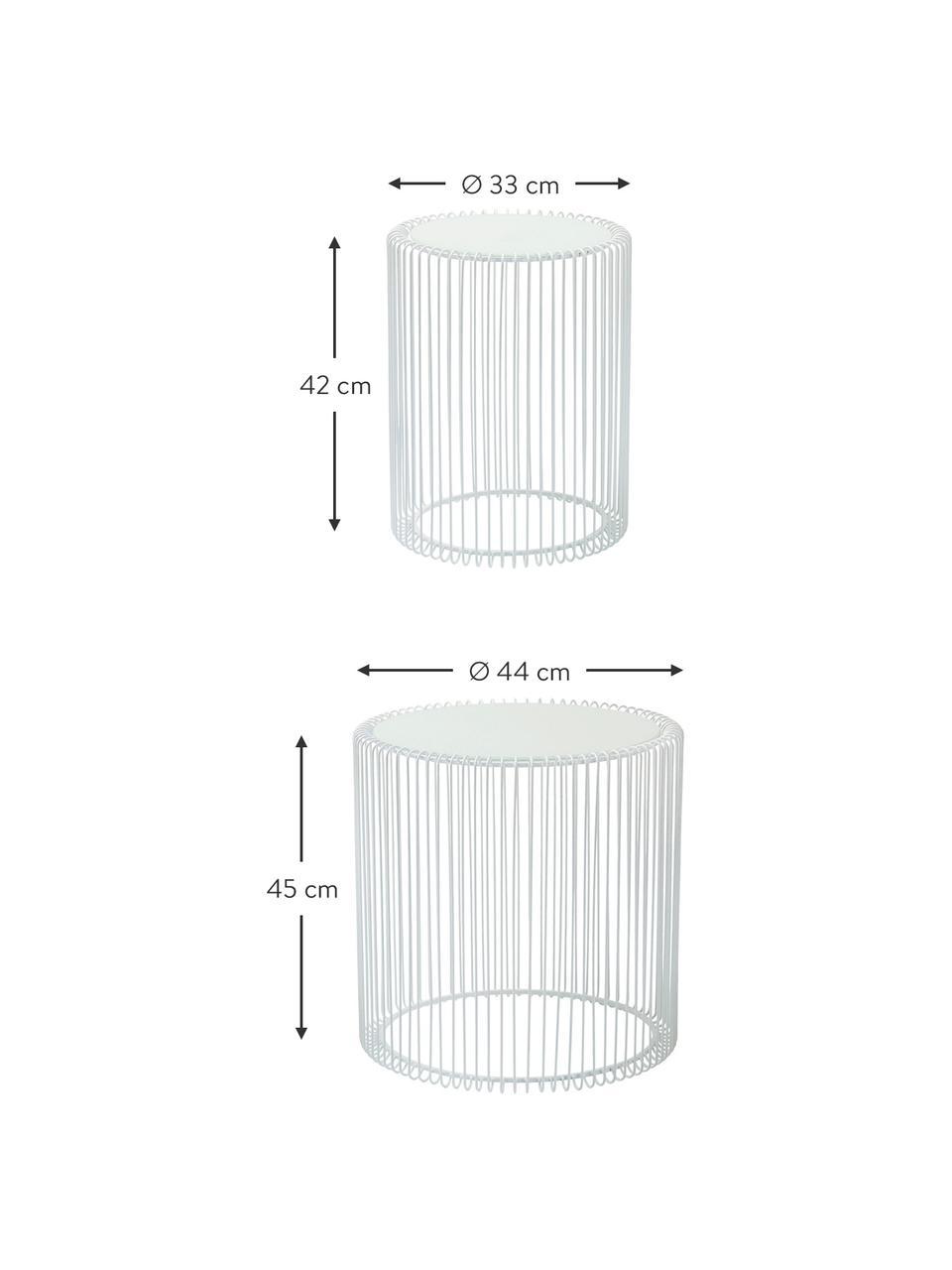 Komplet stolików pomocniczych z metalu ze szklanym blatem Wire, 2 elem., Stelaż: metal malowany proszkowo, Blat: szkło hartowane foliowane, Biały, Komplet z różnymi rozmiarami