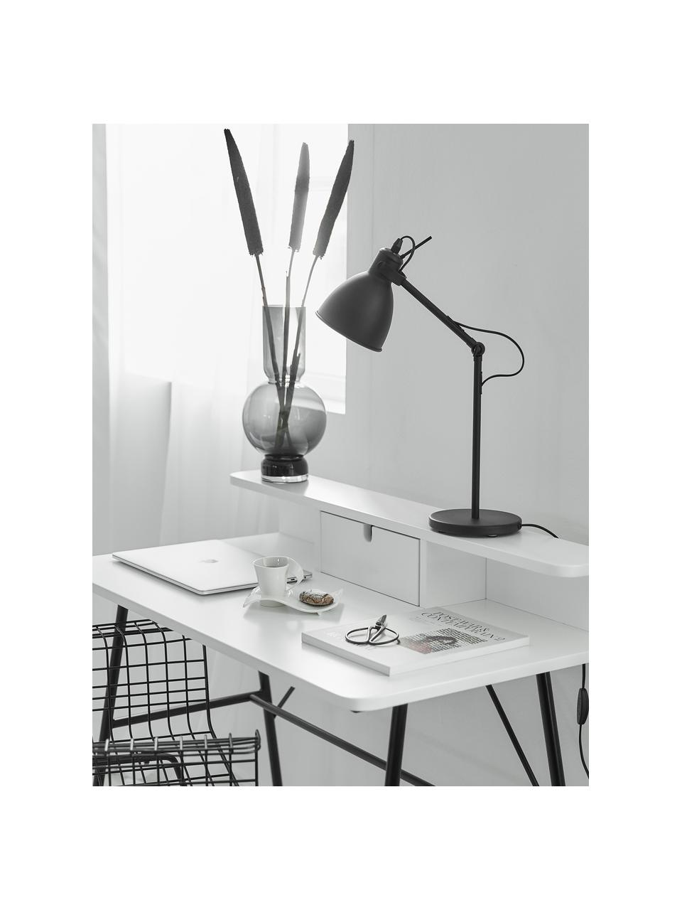 Lampada da tavolo industriale nera Ethan, Paralume: metallo verniciato a polv, Base della lampada: metallo verniciato a polv, Nero, Ø 15 x Alt. 43 cm