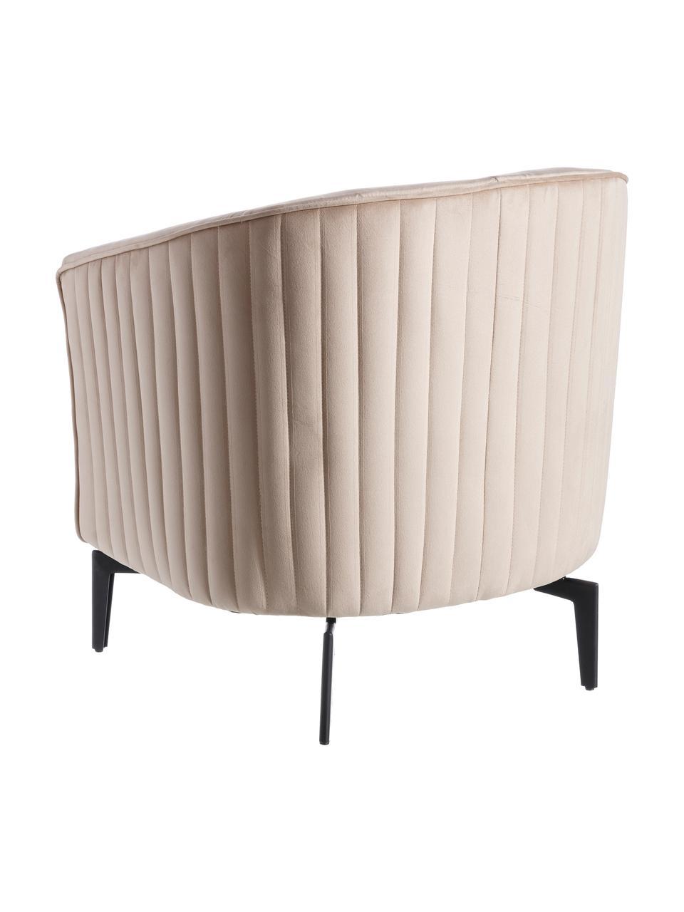 Fotel koktajlowy z aksamitu Babsy, Tapicerka: 100% aksamit poliestrowy,, Nogi: metal, Beżowy, S 62 x G 72 cm