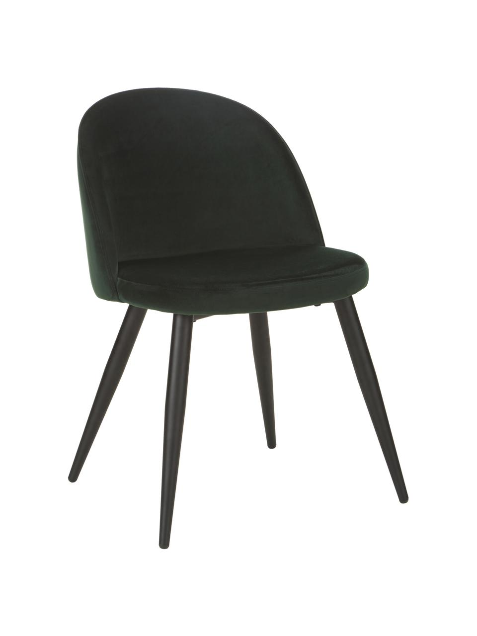 Sedia imbottita in velluto Amy 2 pz, Rivestimento: velluto (poliestere) Con , Gambe: metallo verniciato a polv, Velluto verde scuro, Larg. 51 x Alt. 55 cm