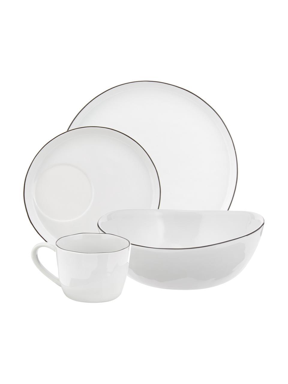 Set de desayuno artesanal Salt, 4comensales (16pzas.), Porcelana, Blanco crudo, negro, Set de diferentes tamaños
