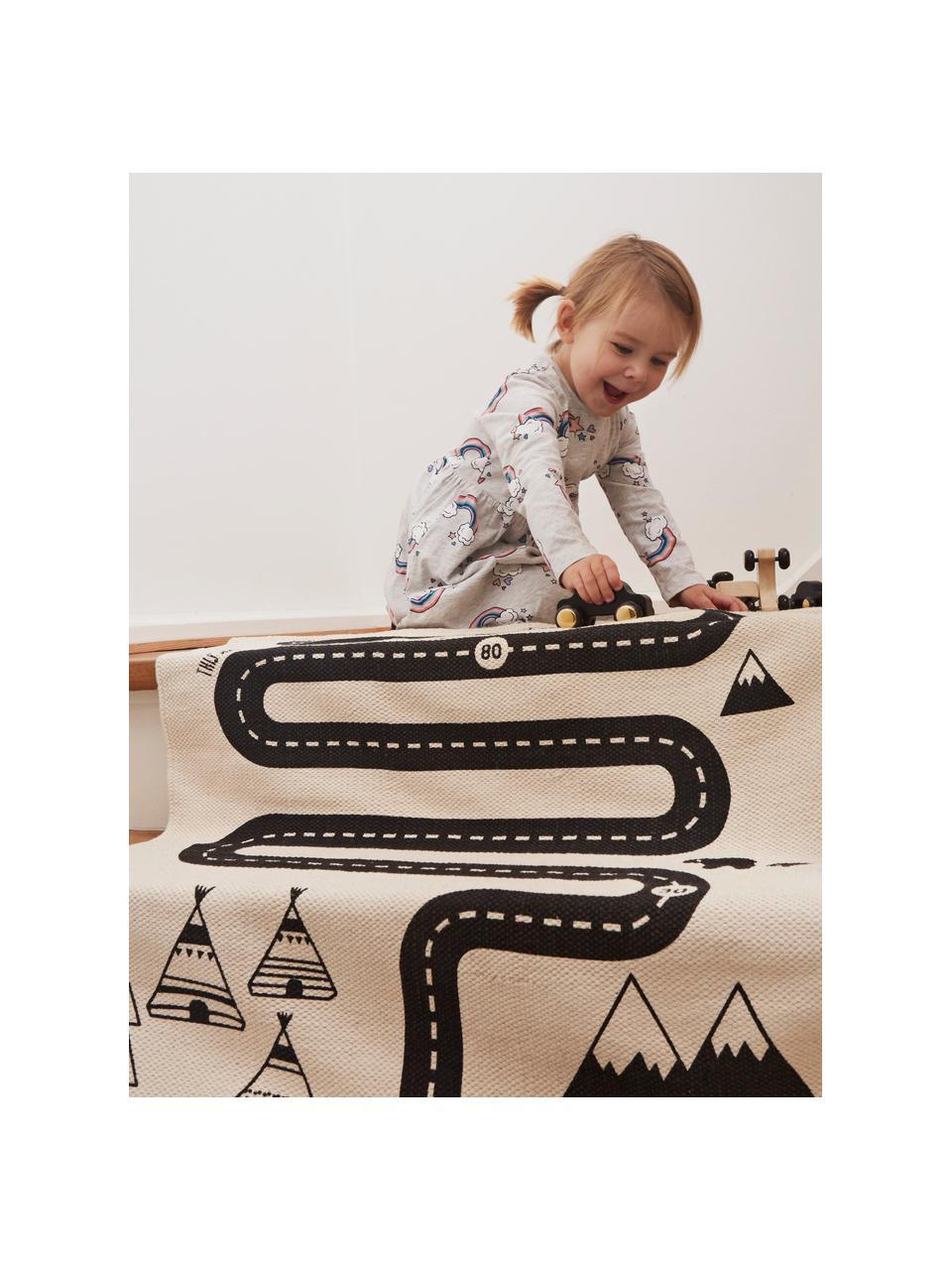 Teppich Adventure, Baumwolle, Gebrochenes Weiß, Schwarz, 70 x 180 cm