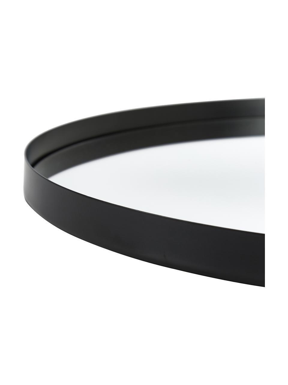 Espejo de pared redondo Ivy, Estructura: metal con pintura en polv, Espejo: cristal, Parte trasera: tablero de fibras de dens, Negro, Ø 100 cm