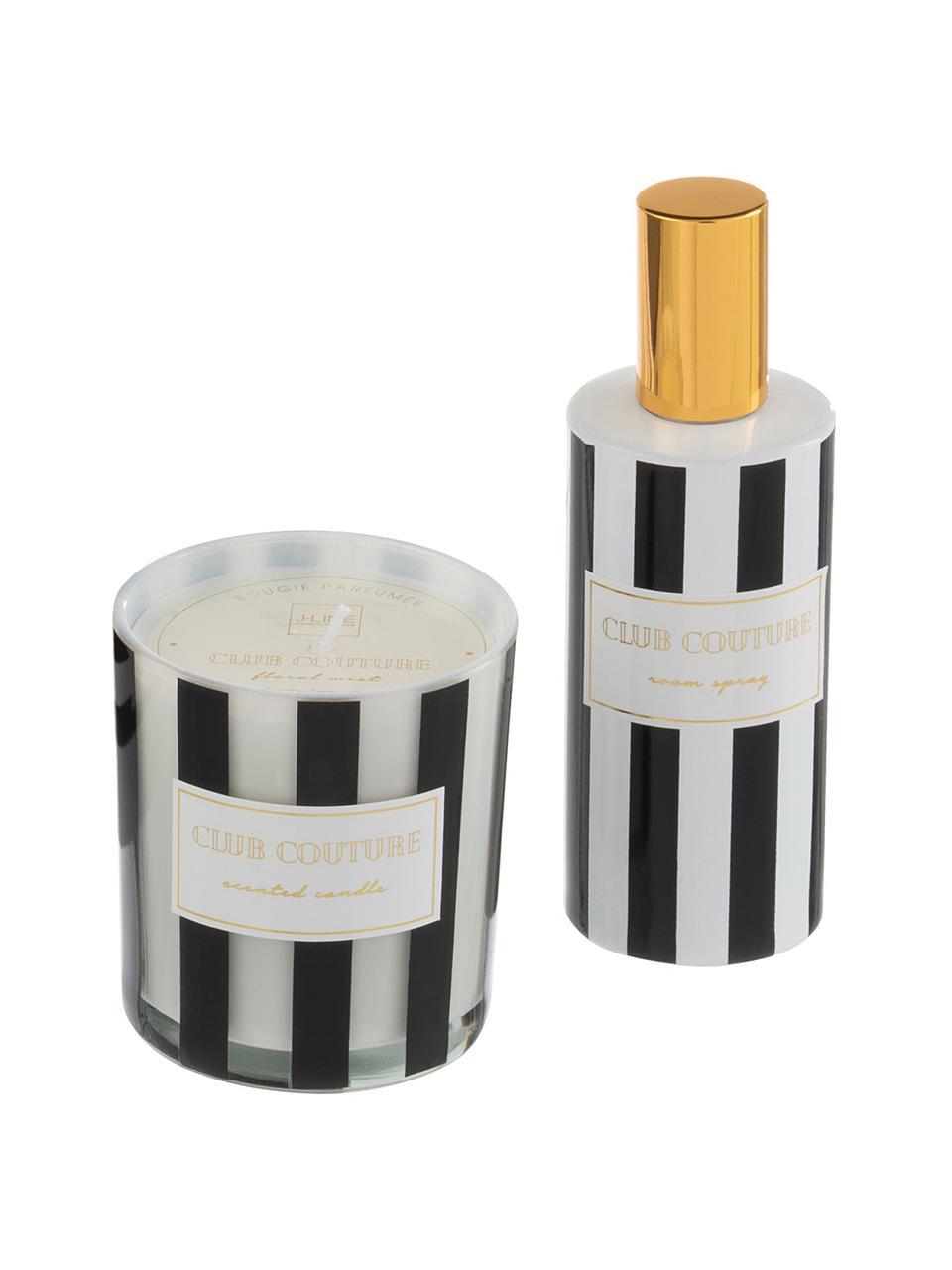 Duftkerze und Diffuser-Set Club Couture, 2-tlg. (Blumen), Behälter: Glas, Schwarz, Weiß, Goldfarben, Set mit verschiedenen Größen