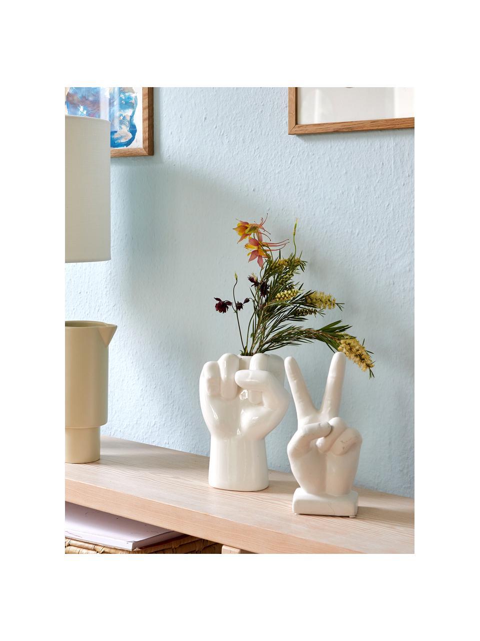 Dekoracja Hand, Kamionka, Biały, S 10 x W 22 cm