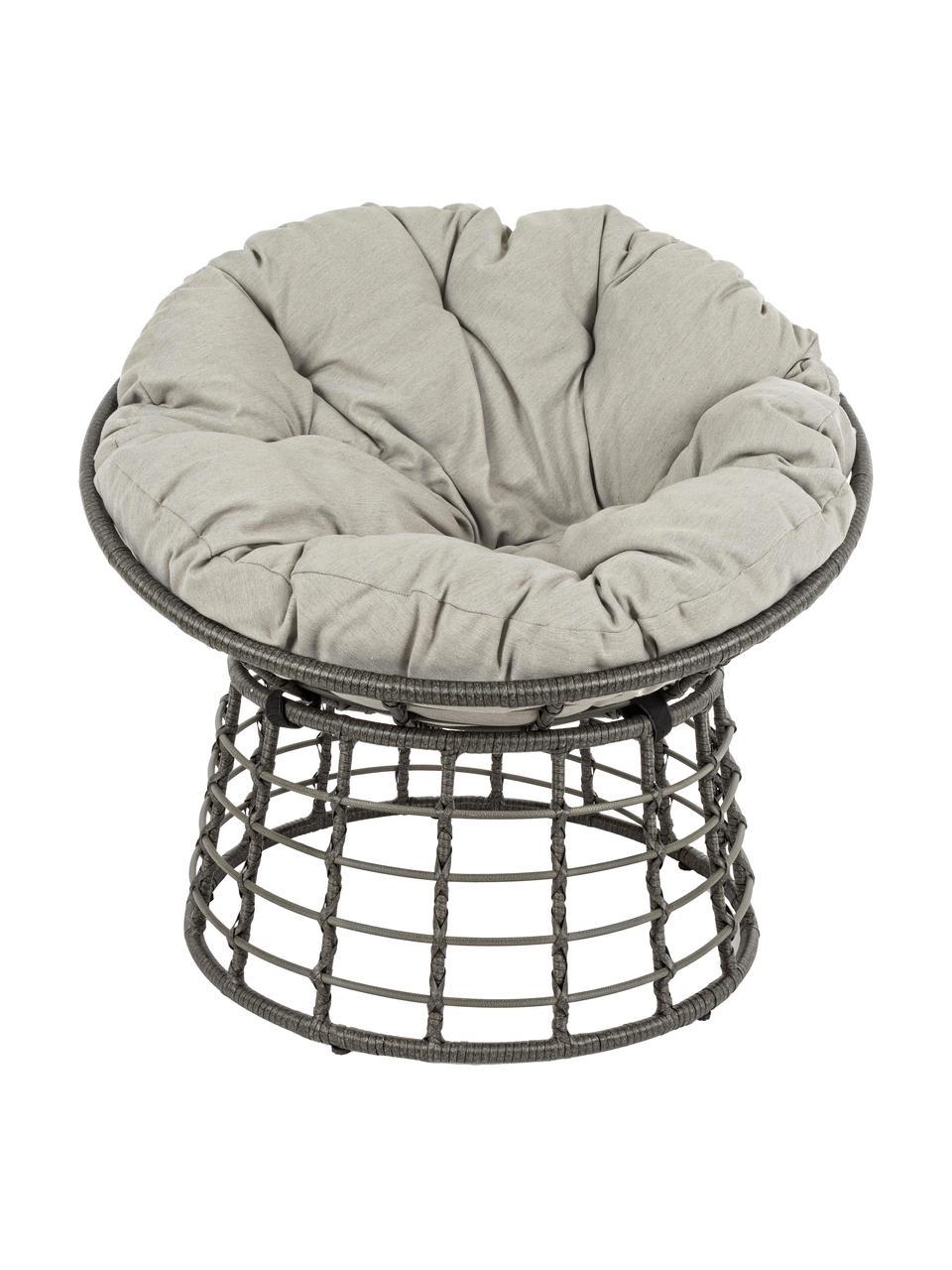 Fotel papasan z tworzywa sztucznego z poduszką na siedzisko Molly, Tapicerka: poliester, Szary, jasny szary, Ø 92 x W 78 cm