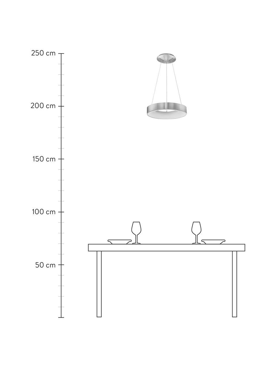 Dimmbare LED-Pendelleuchte Rando in Silber, Lampenschirm: Aluminium, beschichtet, Baldachin: Aluminium, beschichtet, Silberfarben, Ø 60 x H 6 cm