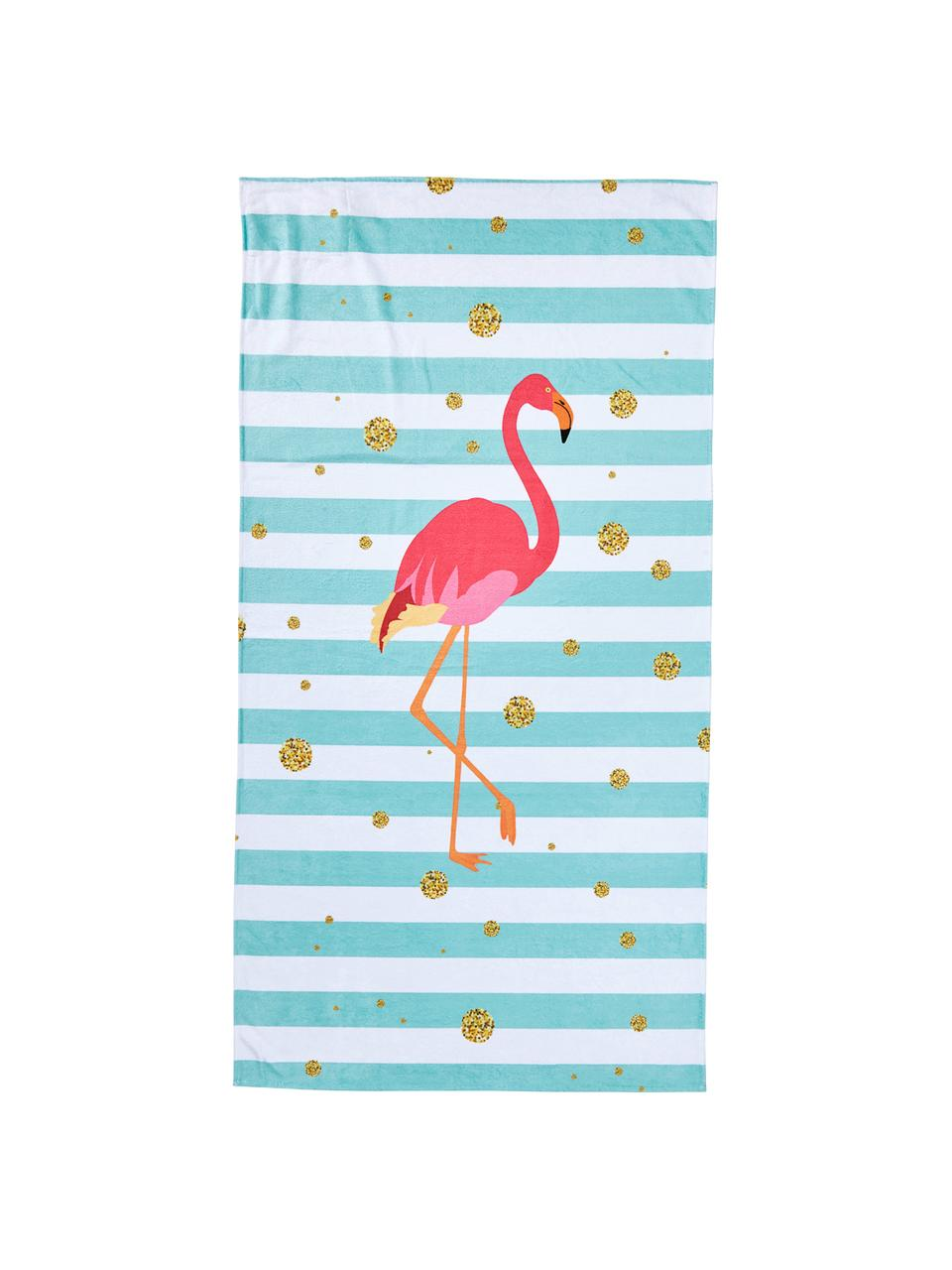 Ręcznik plażowy Case Flamingo, Niebieski, biały, różowy, odcienie złotego, S 90 x D 180 cm