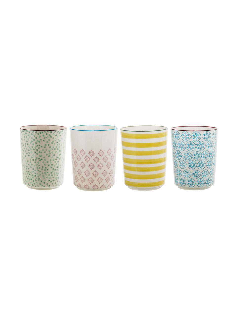 Set 4 tazze senza manico dipinte a mano Patrizia, Gres, Bianco latteo, multicolore, Ø 7 x Alt. 10 cm