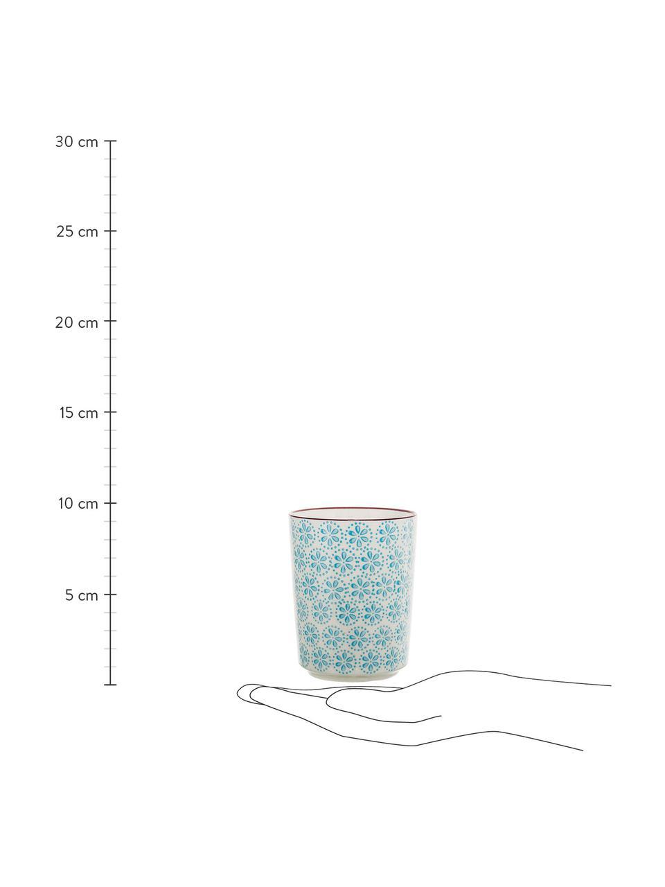 Handbemalte Becher Patrizia mit verspieltem Muster, 4er-Set, Steingut, Gebrochenes Weiß, Mehrfarbig, Ø 7 x H 10 cm