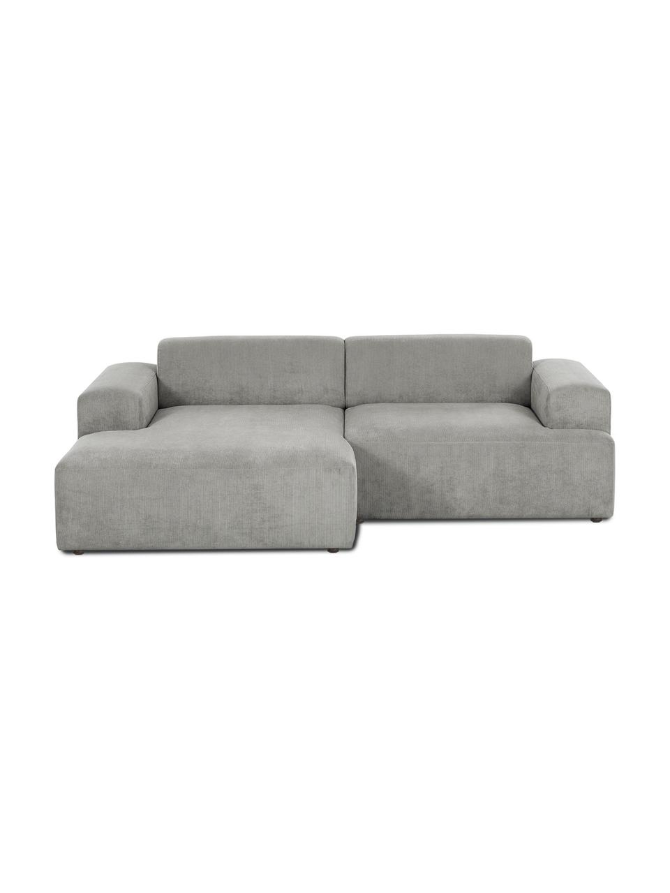 Cord-Ecksofa Melva (3-Sitzer) in Grau, Bezug: Cord (92% Polyester, 8% P, Gestell: Massives Kiefernholz, FSC, Füße: Kunststoff, Cord Grau, B 239 x T 143 cm