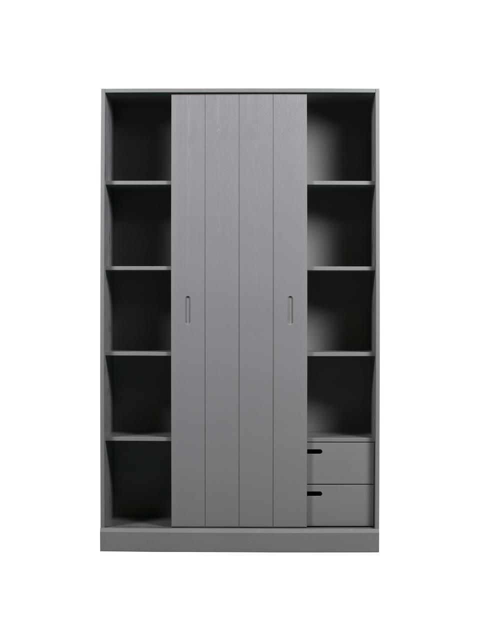 Schrank Move mit 1 Schiebetür in Grau, Kiefernholz, lackiert, Grau, 120 x 200 cm
