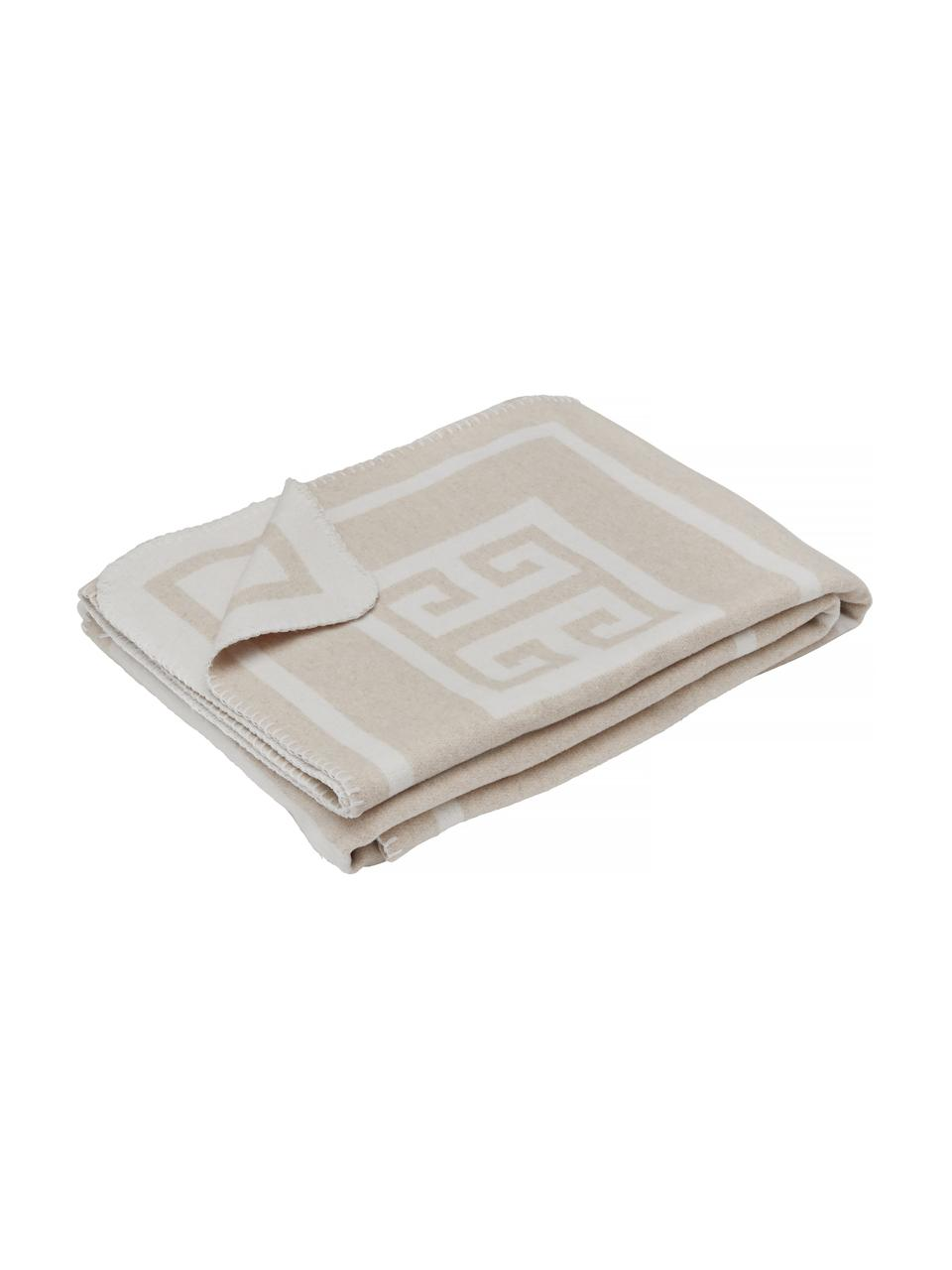 Plaid con motivo grafico beige/bianco Lugano, 100% poliestere, Sabbia, bianco latteo, Larg. 138 x Lung. 184 cm