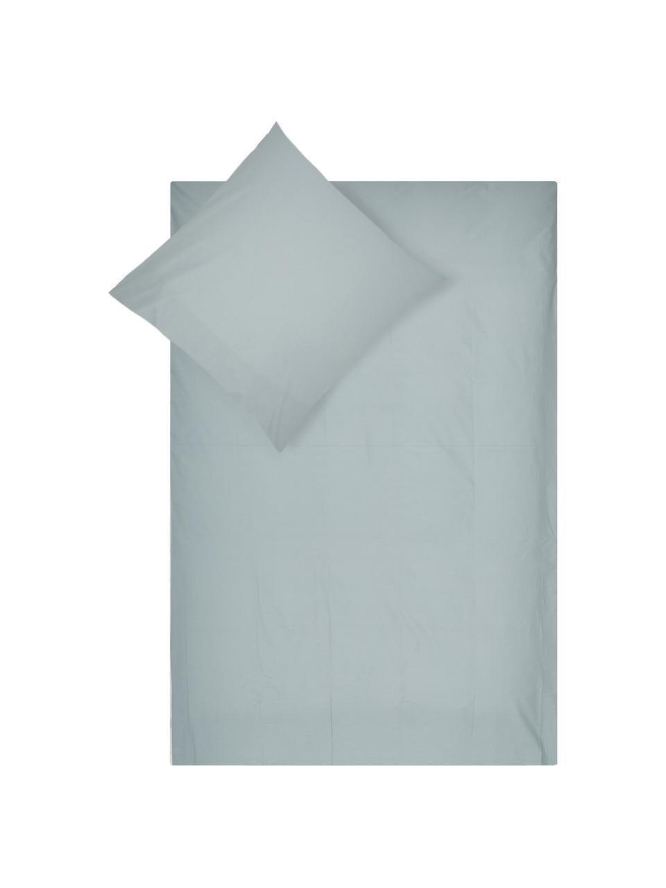 Perkal dekbedovertrek Mendoza, Bovenzijde: katoen, Weeftechniek: perkal met wafelstructuur, Onderzijde: katoen, Weeftechniek: perkal, glad, Mintgroen, 200 x 220 cm + 2 kussen 60 x 70 cm