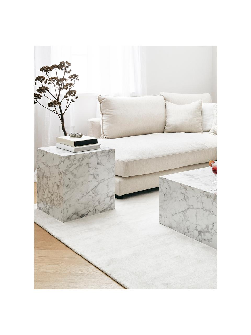 Table d'appoint aspect marbre Lesley, Blanc, aspect marbre