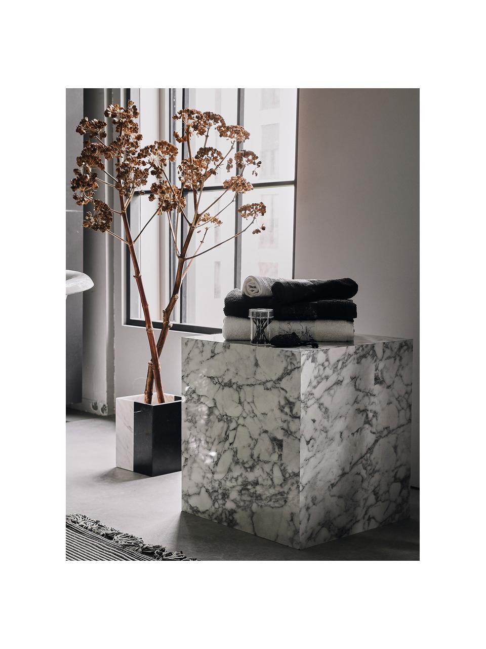 Tavolino quadrato effetto marmo Lesley, Pannello di fibra a media densità (MDF) rivestito con foglio di melamina, Bianco effetto marmorizzato, Larg. 45 x Alt. 50 cm