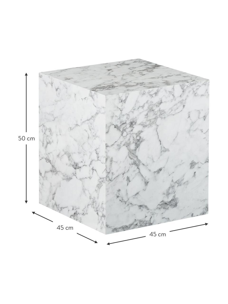 Beistelltisch Lesley in Marmoroptik, Mitteldichte Holzfaserplatte (MDF), mit Melaminfolie überzogen, Weiß, Marmoroptik, 45 x 50 cm