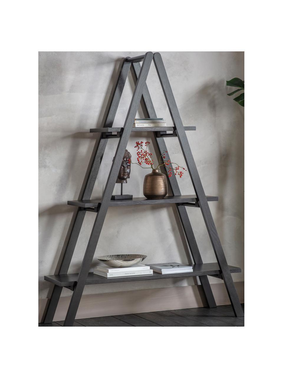Libreria nera Clapham, Pannello di fibra a media densità (MDF) con finitura in quercia, verniciato, Nero, Larg. 120 x Alt. 175 cm