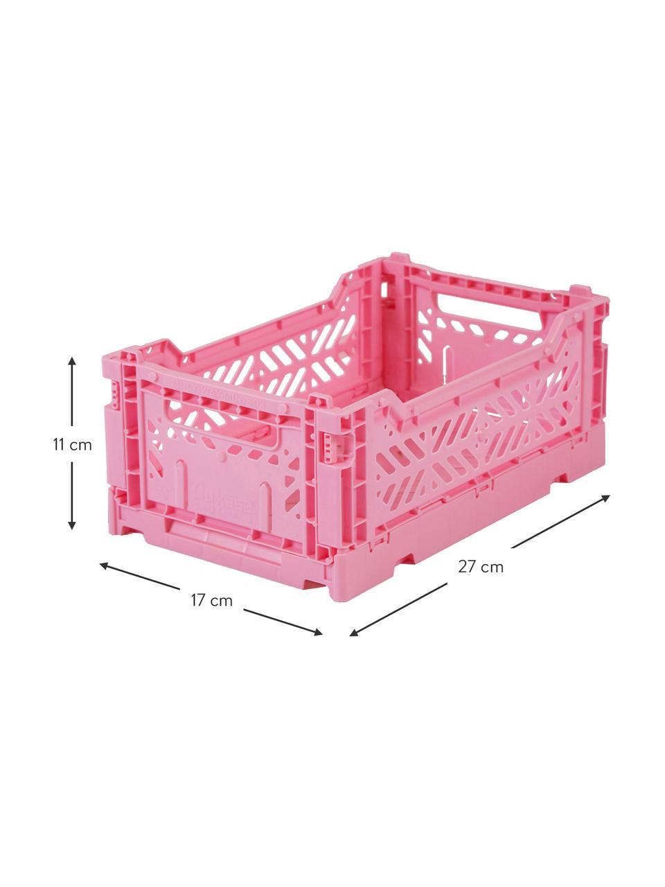 Cesto piccolo pieghevole e impilabile Baby Pink, Materiale sintetico riciclato, Rosa, Larg. 27 x Alt. 11 cm