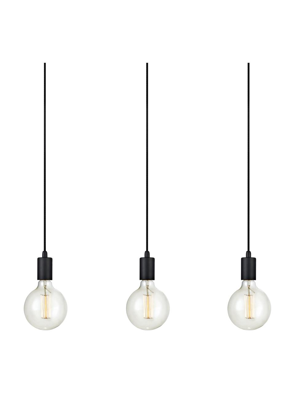 Suspension industrielle 3 lampes ampoule nue Sky, Noir