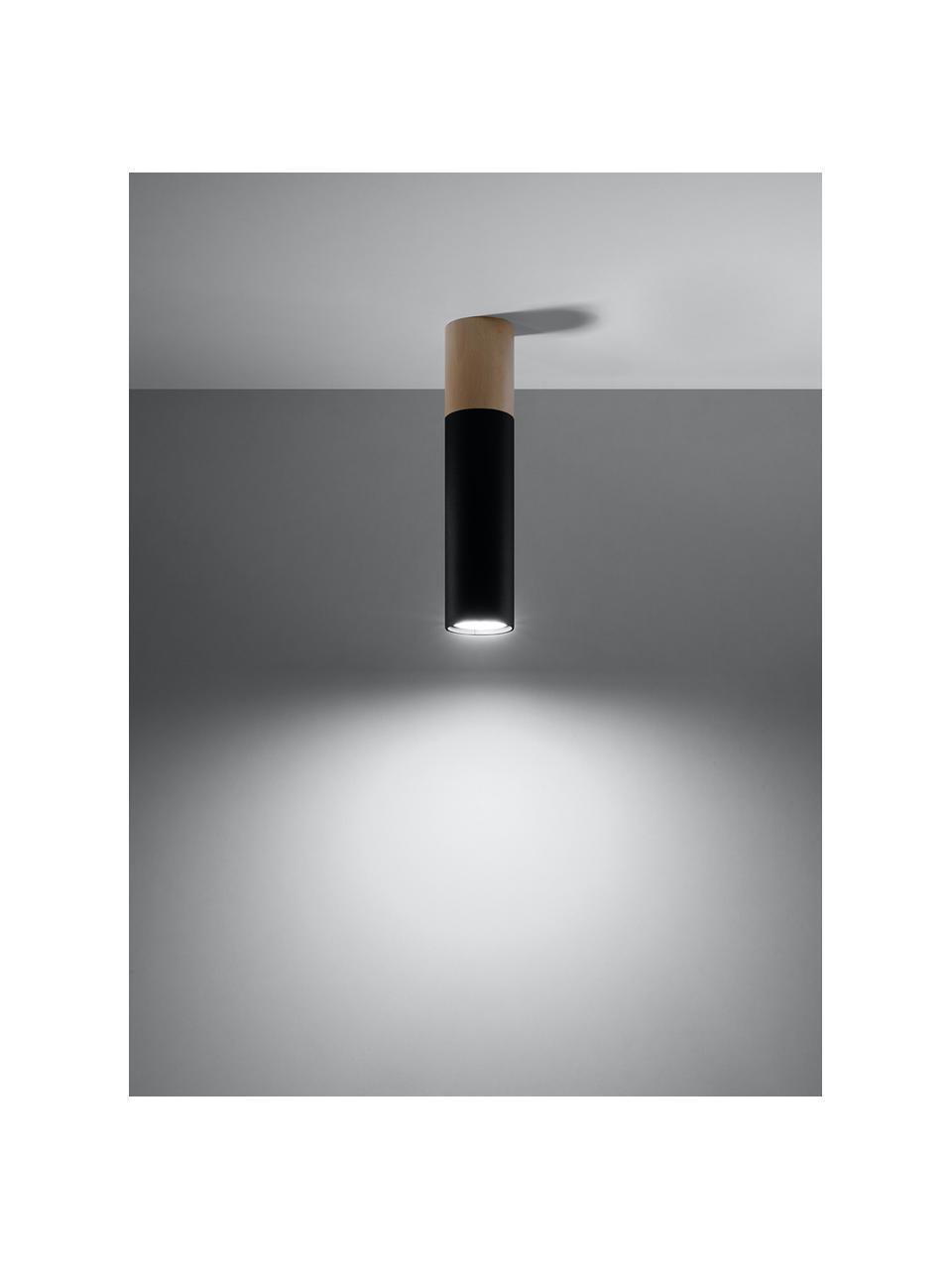 Faretto a soffitto con decoro in legno Paul, Paralume: acciaio rivestito, Nero, marrone, Ø 8 x Alt. 30 cm