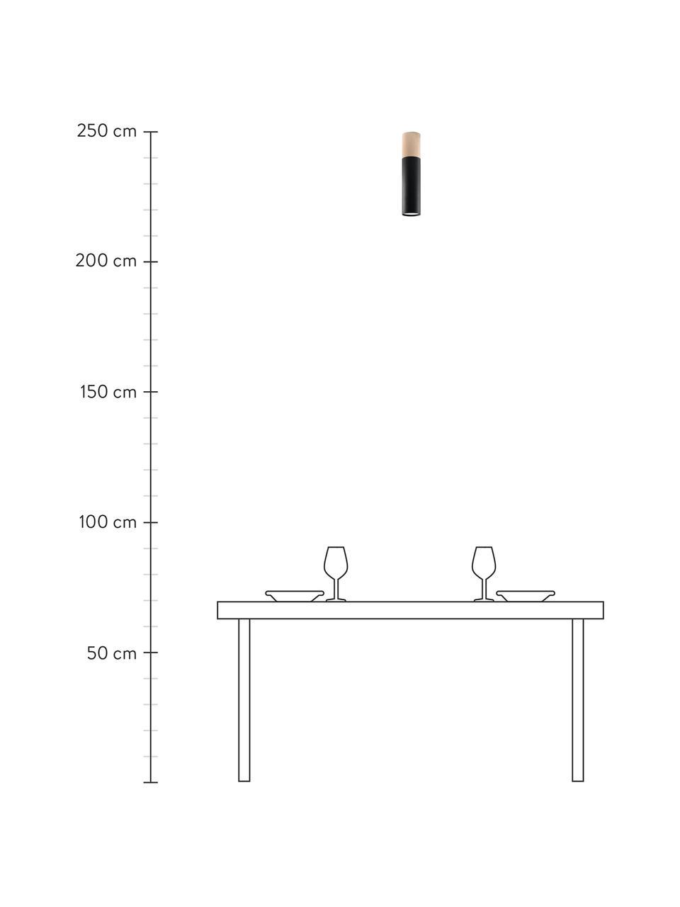 Deckenspot Paulo mit Hokzdekor, Lampenschirm: Stahl, beschichtet, Dekor: Holz, Schwarz, Braun, Ø 8 x H 30 cm
