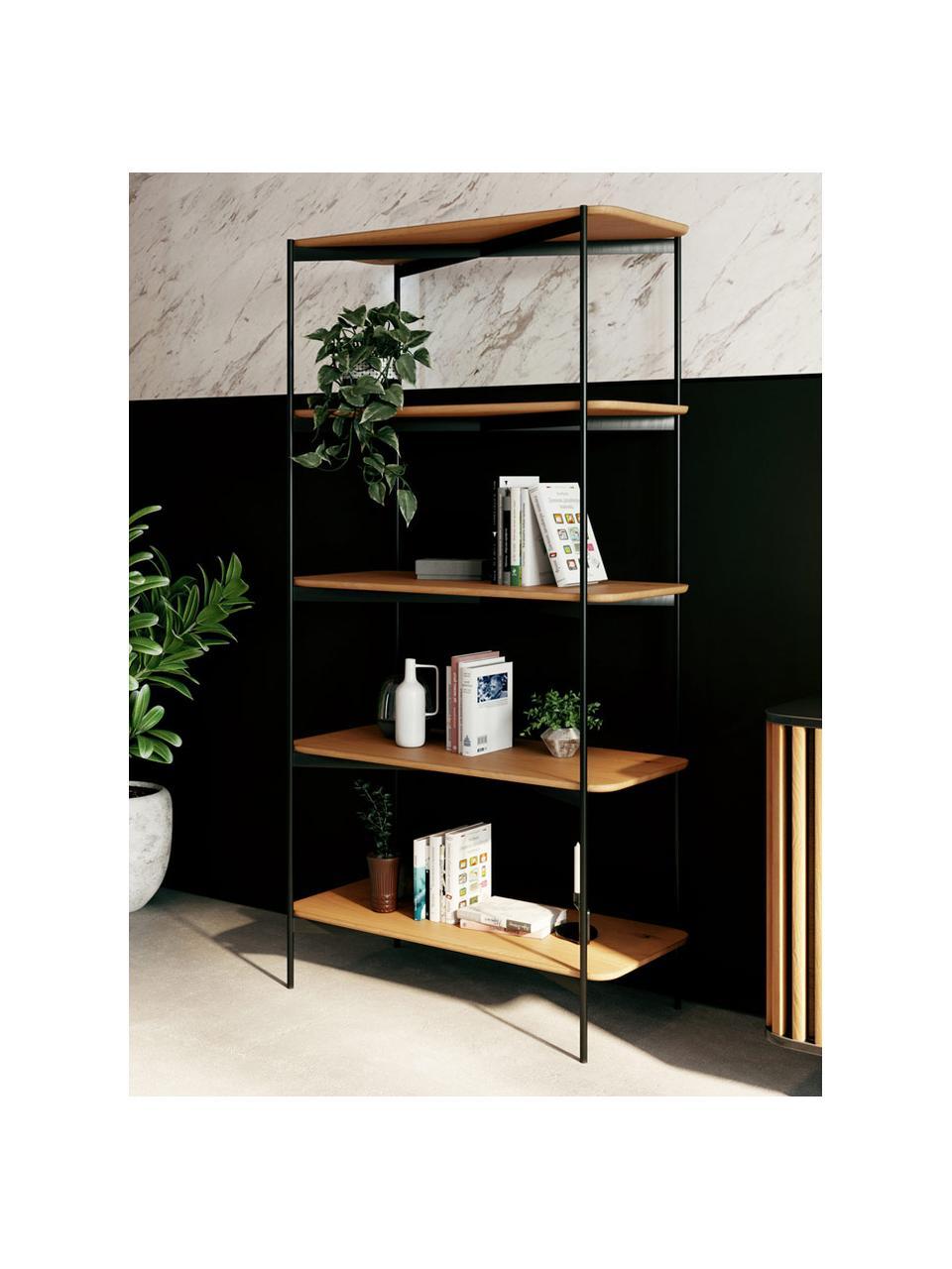 Wandrek Easy van hout en metaal, Frame: gecoat metaal, Zwart, bruin, 90 x 175 cm