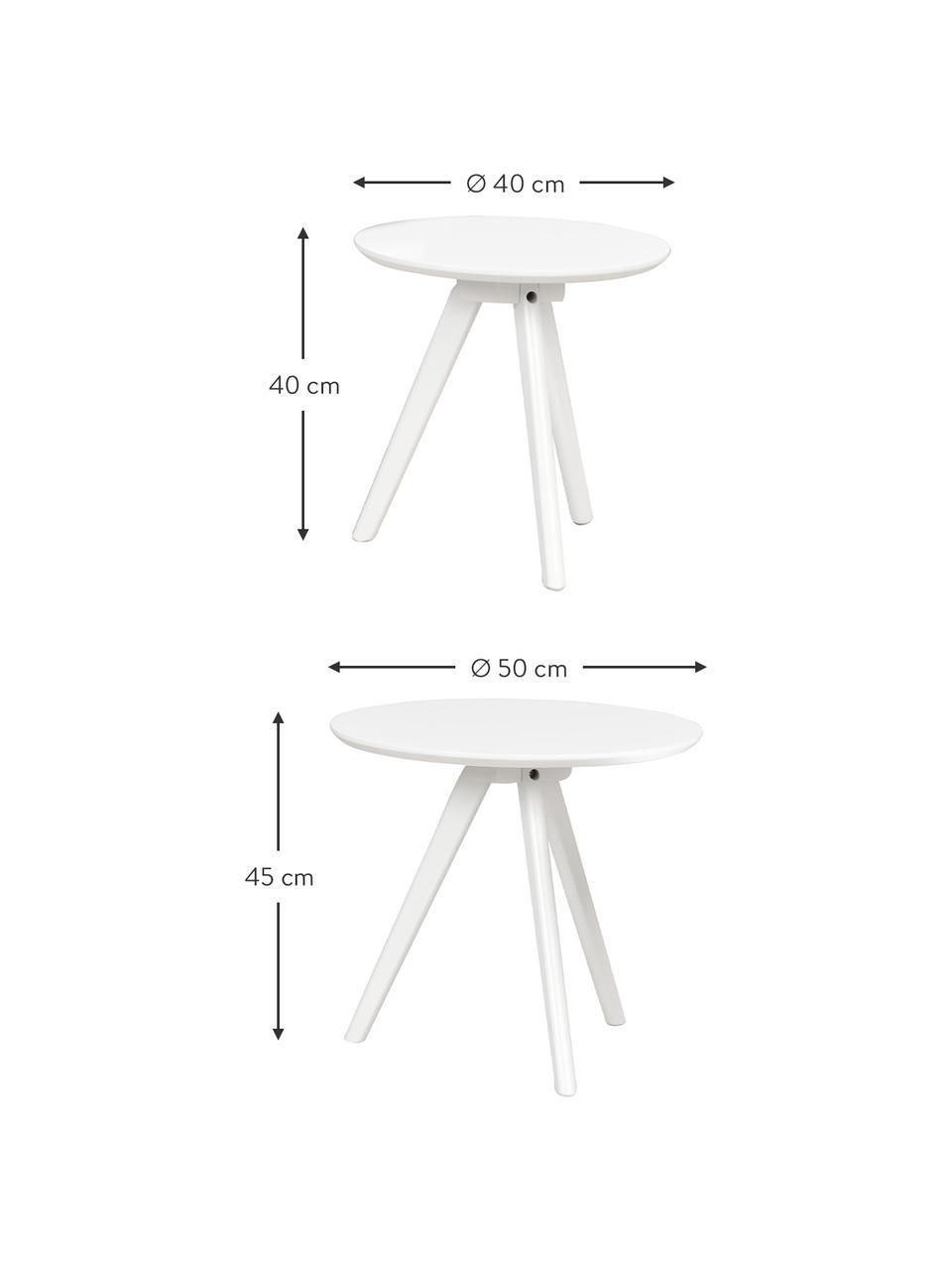 Komplet stolików pomocniczych Yumi, 2 elem., Blat: płyta pilśniowa średniej , Nogi: lite drewno kauczukowe, l, Biały, Komplet z różnymi rozmiarami
