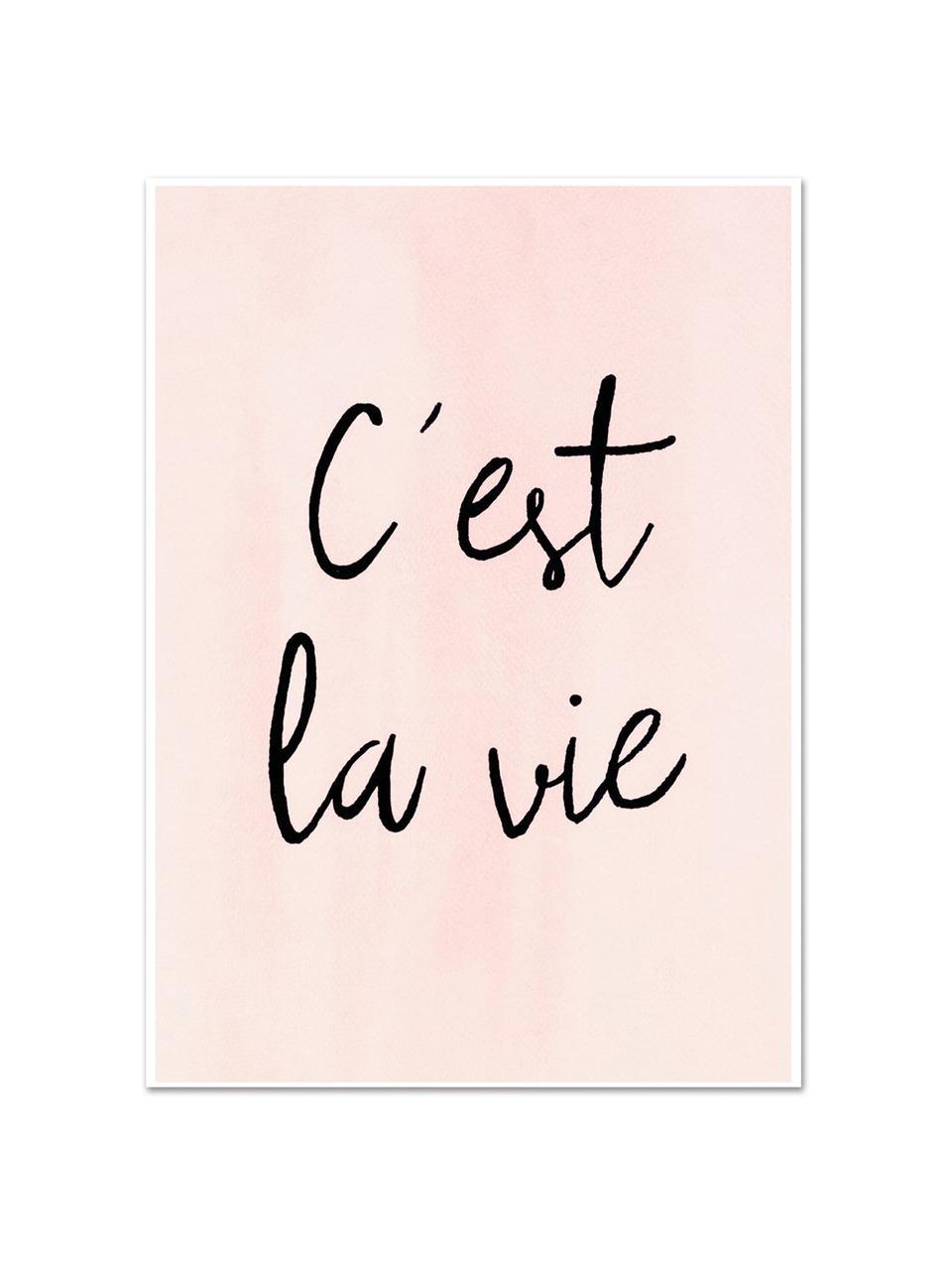 Poster C'est La Vie, Stampa digitale su carta, 200 g/m², Rosa, nero, Larg. 30 x Alt. 42 cm