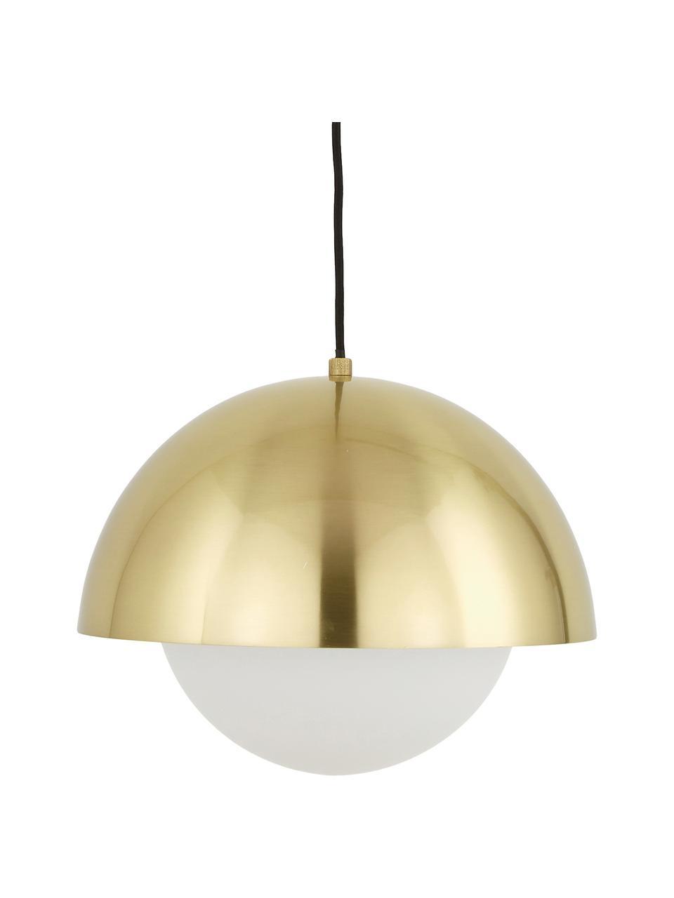 Lampada a sospensione con vetro opale Lucille, Baldacchino: metallo spazzolato, Paralume: vetro, Ottone, bianco, Ø 35 x Alt. 30 cm